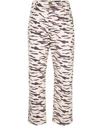 Rejina Pyo Tiger Print Straight Trousers - Multicolour