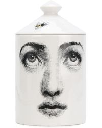 Fornasetti Scented Candle With Printed Casing - White