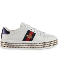 Gucci Baskets blanches Crystal New Ace