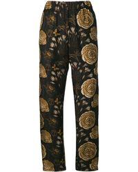 Uma Wang Rose Print Loose Pants - Black