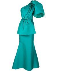 Isabel Sanchis Robe longue en satin à design à une épaule - Bleu