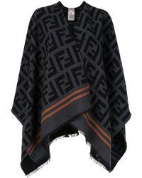 Fendi Ff V-neck Poncho - Black
