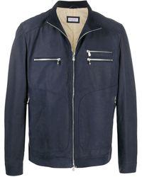 Brunello Cucinelli ジップアップ レザージャケット - ブルー