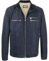 Brunello Cucinelli Zip-up Leather Jacket - Blue