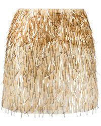 Alberta Ferretti Silk Embroidered Mini Skirt - Metallic