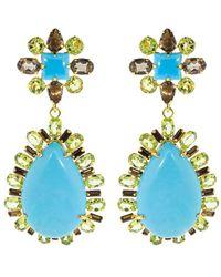 Bounkit Boucles d'oreilles à ornements en péridot et turquoise - Bleu