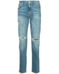 Agolde - Distressed Straight-leg Jeans - Lyst
