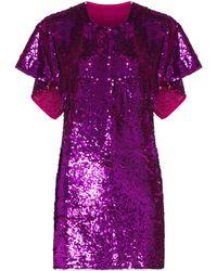 Ashish Cape Sleeve Sequin Mini Dress - Pink