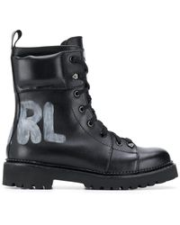 Karl Lagerfeld Kadet Ii Lace Up Boots - Black