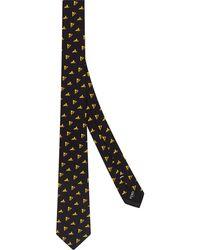 Fendi Cravatta con motivo Bag Bugs - Nero