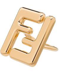 Fendi - Anillo con logo FF - Lyst