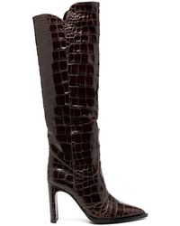 KATE CATE Kate Croc Effect Boots - Brown
