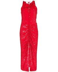 Magda Butrym Hilo Feather Boa Velvet Mini Dress - Red