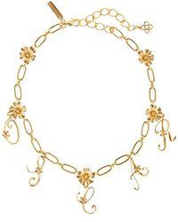 Oscar de la Renta Logo Floral Necklace - Metallic