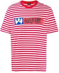 DIESEL Striped Print T-shirt - Red