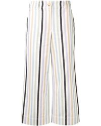 Tory Burch Cropped Striped Pants - Blue