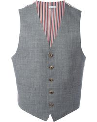 Thom Browne Striped Lateral Waistcoat - Grijs
