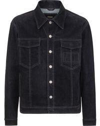 Fendi Logo-patch Denim Jacket - Black