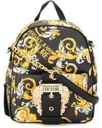 Versace Jeans Couture Barocco Logo Print Backpack - Black