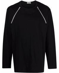 Yohji Yamamoto ジップディテール Tシャツ - ブラック