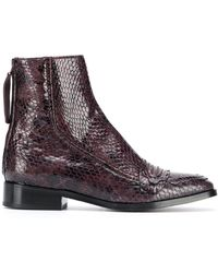 ALEXACHUNG Snake-effect Ankle Boots - Purple