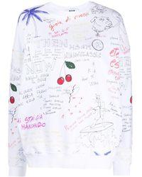 MSGM Sweatshirt mit Print - Weiß