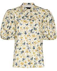 ANOUKI Chemise fleurie à manches bouffantes - Blanc