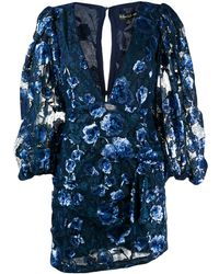 For Love & Lemons Victoria Embroidered Mini Dress - Blue