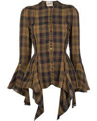 Khaite Elliot Check-print Bell Sleeves Top - Brown