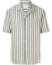 Cerruti 1881 Gestreept Bowling Shirt - Grijs