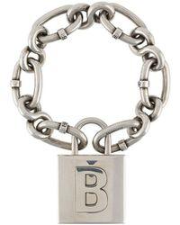 Balenciaga Цепочный Браслет С Подвеской-логотипом - Металлик