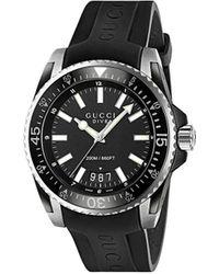 Gucci Ya136204 Men's Dive Date Rubber Strap Watch - Black