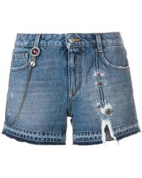 Ermanno Scervino - Ripped Embroidered Denim Shorts - Lyst