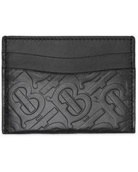 Burberry Sandon Card Case In Tb Monogramed Black Calfskin
