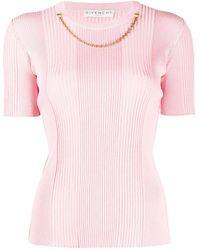 Givenchy チェーントリム リブニットトップ - ピンク