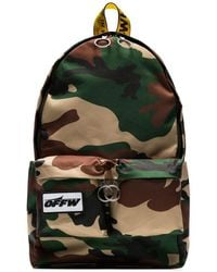 Off-White c/o Virgil Abloh Green Camouflage Industrial Strap Backpack - Groen