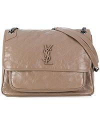 Lyst - Saint Laurent Monogram Shoulder Bag in Natural 6c88eb3ee4a5a