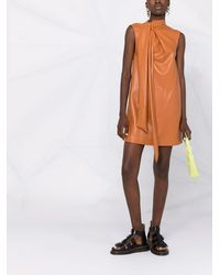 MSGM Платье-трапеция Из Искусственной Кожи - Коричневый