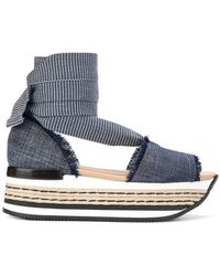 Hogan - Denim Platform Sandals - Lyst
