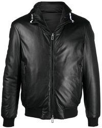 Emporio Armani Veste en cuir à capuche - Noir