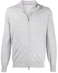 Brunello Cucinelli Zip-up Cashmere Jumper - Grey