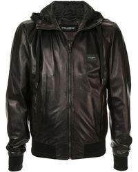 Dolce & Gabbana Hooded Leather Jacket - Black