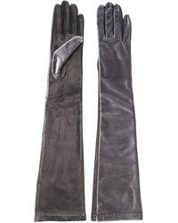 Manokhi Длинные Перчатки С Контрастными Вставками - Серый