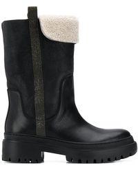 Brunello Cucinelli Ботинки С Отделкой Из Овчины - Черный