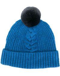 N.Peal Cashmere Bobble Beanie Hat - Blue