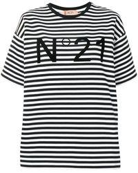 N°21 Striped Logo Print T-shirt - Black