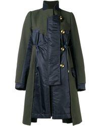 Sacai Contrast panel coat - Vert