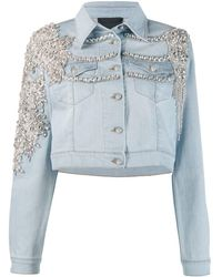 Philipp Plein Джинсовая Куртка С Кристаллами - Синий