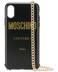 Moschino Funda para iPhone XR con logo - Negro