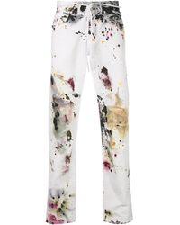 Off-White c/o Virgil Abloh Skinny-Jeans mit Farbklecks-Print - Weiß